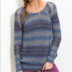 Free People Desert Moon Blue Pullover Sweater